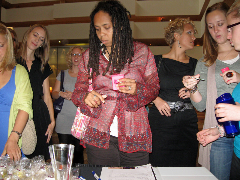 Women signed the guest book and entered a drawing for a donated gift basket of bath items from Bright Endeavors, a Women of the ELCA grant recipient in 2009. There were also gift cards, lemon-scented palm candles from Bright Endeavors, and mirrors for each guest.