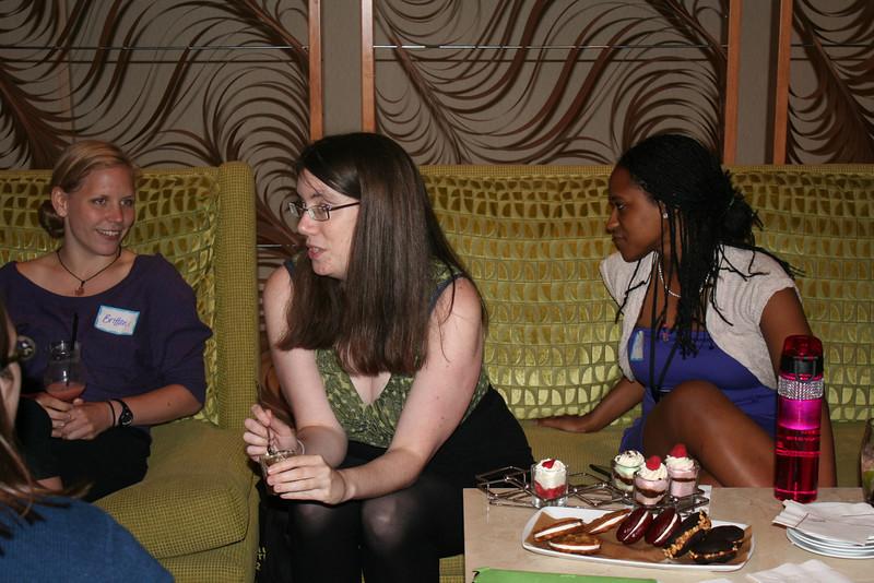 Brittani (left), Heather and Cyndi enjoy conversation.