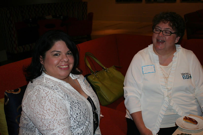 Gaby (left) and Linda, executive director, Women of the ELCA stop by for some good conversation.