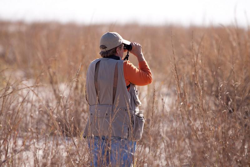 Dee searching through her binoculars