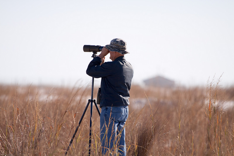 Don spotting a Bald Eagle across the bay.