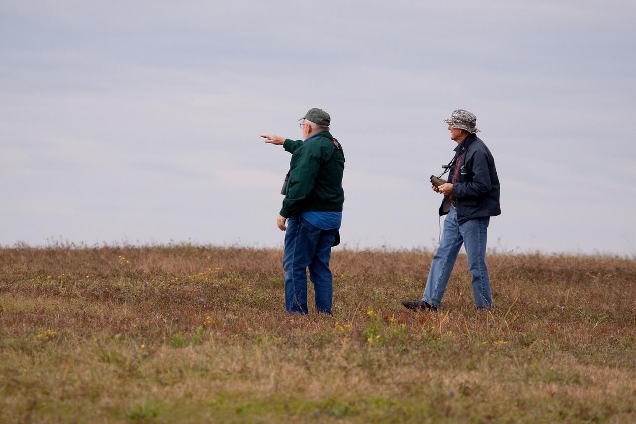 Bob spotting an Eastern Meadowlark