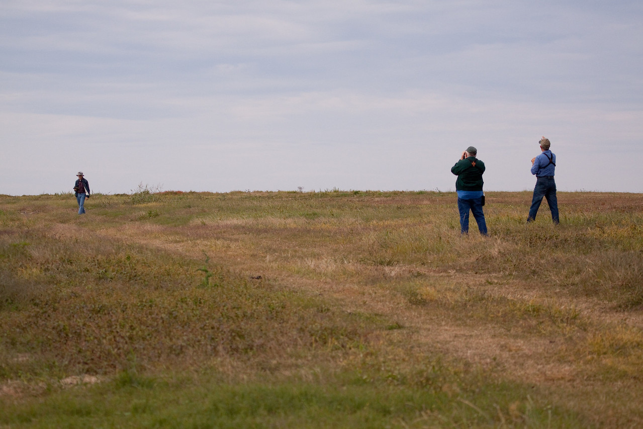 Bob, Lenny and Don looking for Eastern Meadowlarks.