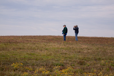Don and Bob searching for Eastern Meadowlarks