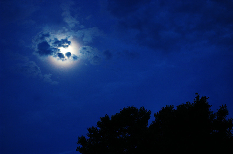 June Moon With Clouds