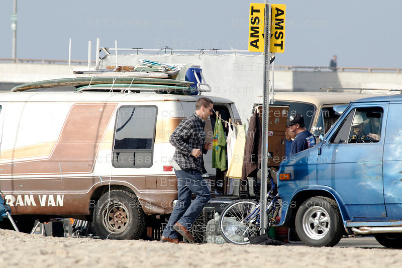 Chris Evans,Topher Grace,Luke Wilson during the set of A Many Splintered Thing in Venice California.