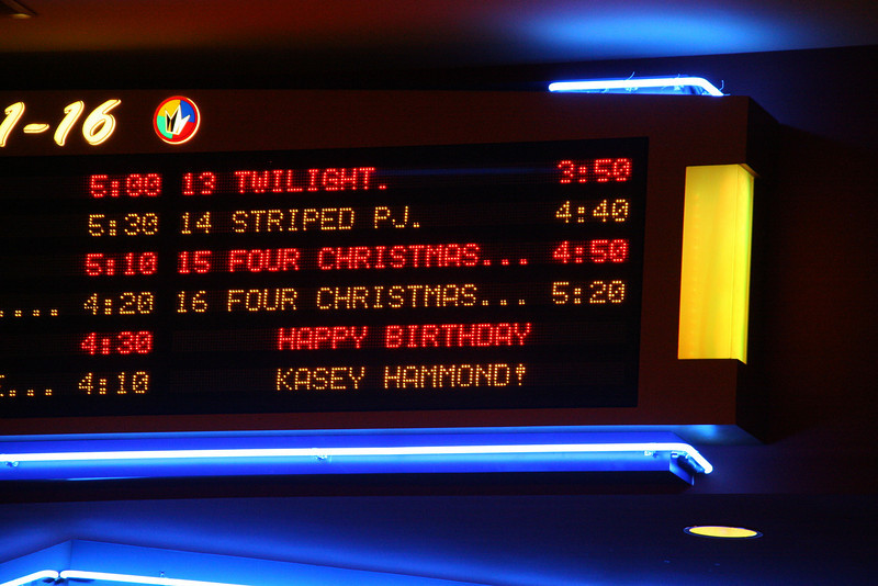Birthday greetings for Kasey's 14th. Indian Lake Cinema 16 Hendersonville TN. Dec. 2008