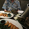 Michael and lobster potstickers and grilled artichokes