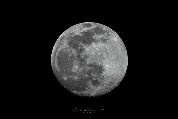 Full Moon shot taken during the day and converted to BW .  Canon R5 , RF100-500 + RF1.4x @700mm
