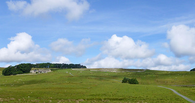 Housesteads Fort, a Roman fortification, in the distance