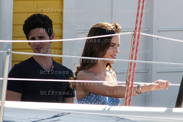 Christa B.Allen and cast during the set of Revenge in Marina Del Rey, California.