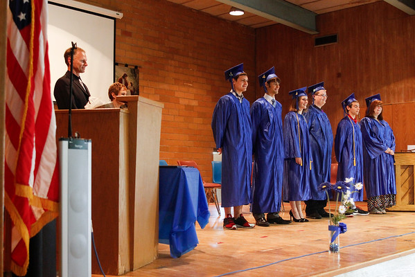 RACHEL LEATHE/ THE COURIER<br />  <br /> 052816 Wyatt Schlotter, Sam Pedersen, Erin Payne, Elijah Muntz, Luke Cavanaugh and Hannah Aslesen graduated from Ottumwa Christian School as the class of 2016 on Saturday morning in the school's gymnasium.