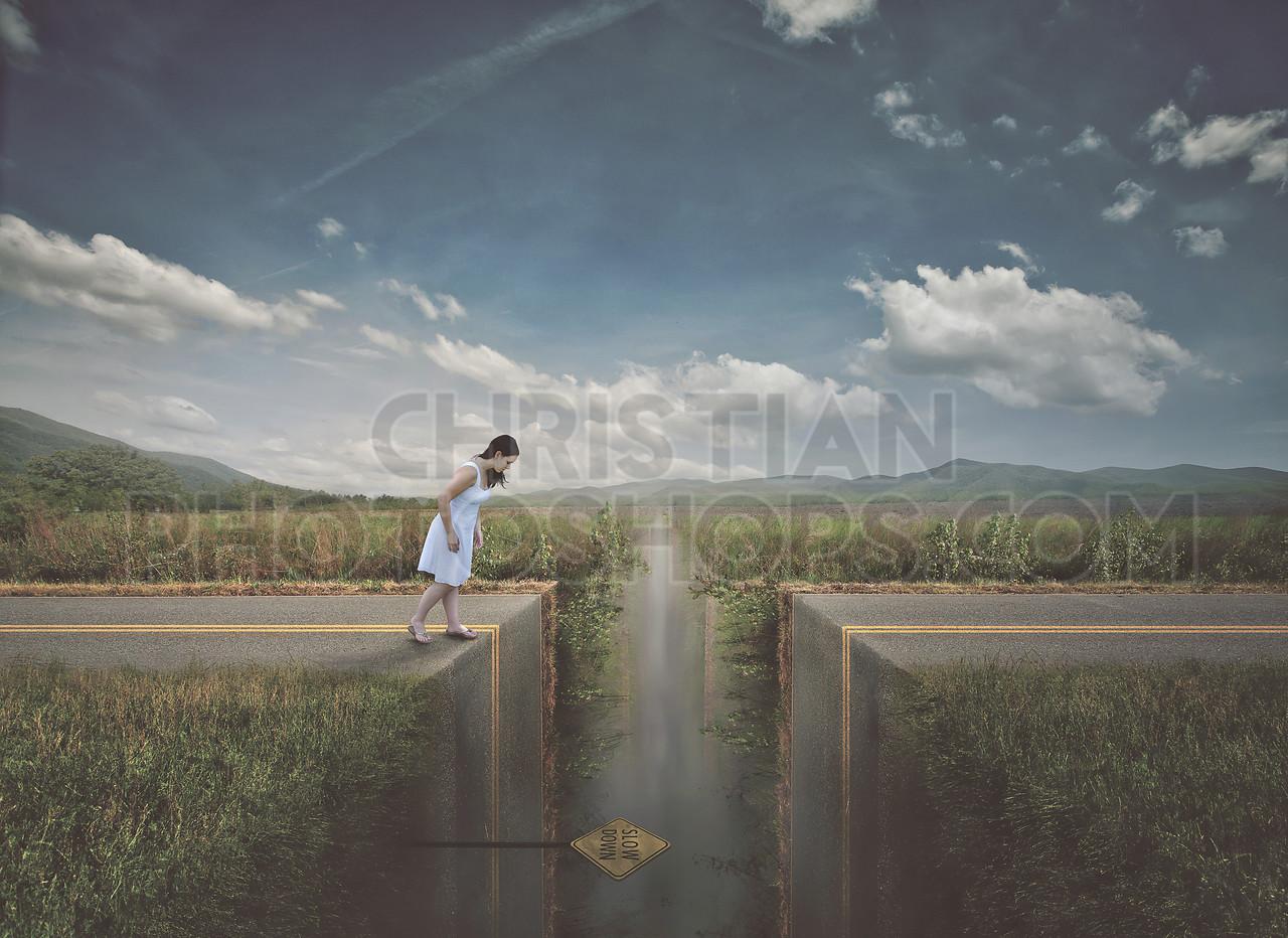 Woman approaching broken road