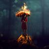 Woman with Burning umbrella