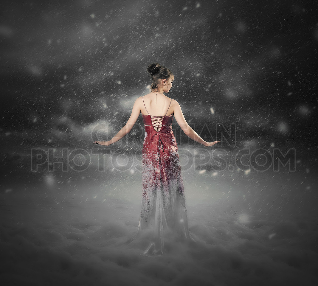 Red dress snow storm.