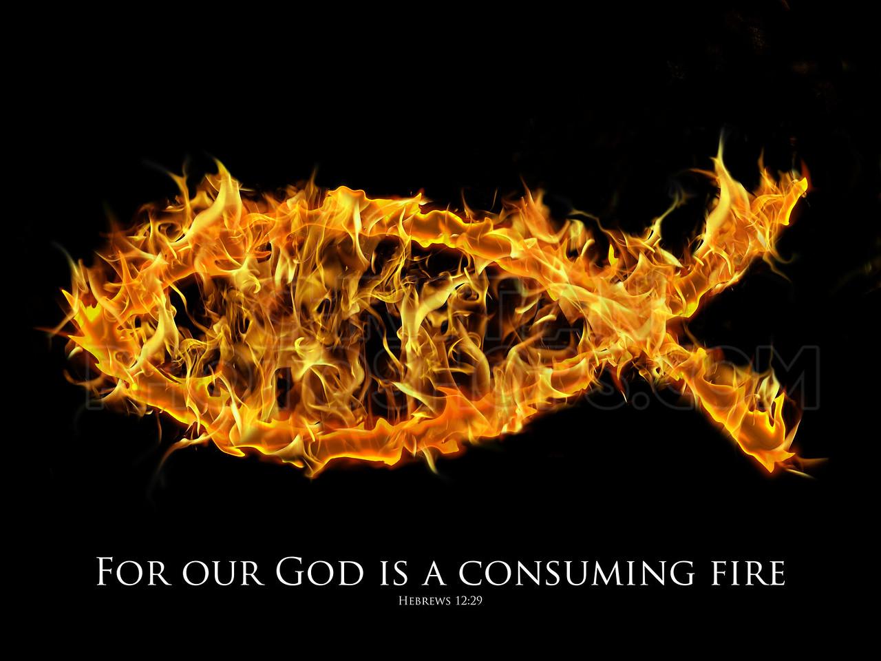 Jesus fish symbol on fire