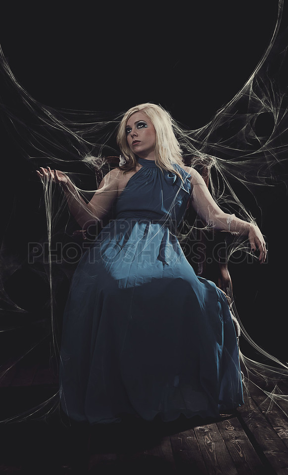 Woman with spider webs