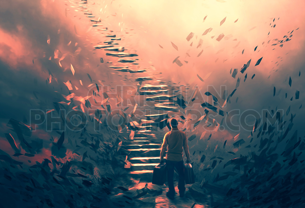 Illustration of a man and dangerous stairs