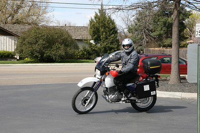 Eric Loftsgard on the 1996 XR650L. Notice the Alaska Leather sheepskin cover on the seat.