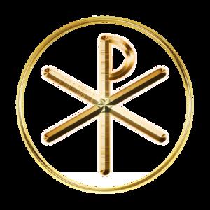 Glowing Chi-Rho symbol
