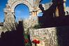 Coquelicots devant les ruines de la basilique de Saint-Siméon-le-Stylite (5ème siècle). Syrie