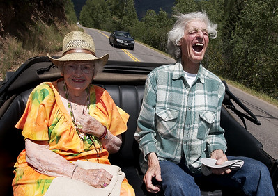 """This is so much fun,"" yells Amarose Gamache, 81, right as he and Winifred ""Winnie"" Elliott, 87, react to the wind in their hair as they ride in a 1934 Ford Model T. ""In 1939 I went to an auction at Sm Reeds farm with only $5.30 in my pocket,"" remembers Gamache, ""I paid $5 for a 1919 Model T and 30 cents for a horse drawn sleigh. We had an old mare from WW1 with ""USC"" stamped on her ass. She was from the Army's cavalry."""