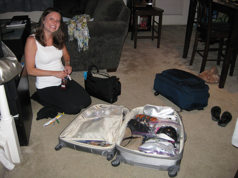 Just minutes prior to driving to the airport.  Christie and her three bags.