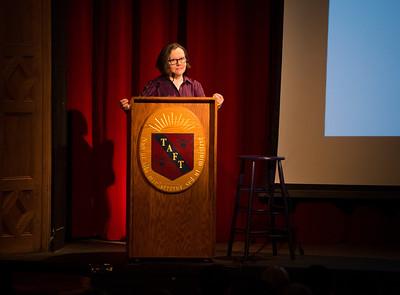 Christine Osinski speaks during Morning Meeting