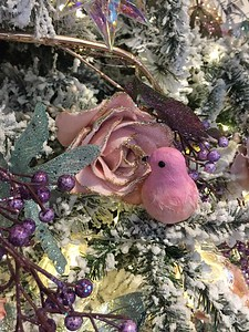 Bird and rose Christmas ornaments