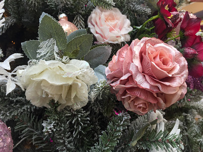 Pink and white Christmas rose decorations