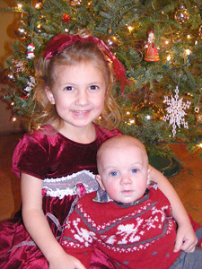 Skyler and Rachel in front of our Christmas tree