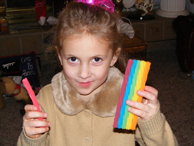 Rachel saw these rainbow Twizzlers at a rest stop on our way to South Carolina for Thanksgiving, but Daddy didn't have any change to buy them....she asked about them for the rest of our trip! Good think Santa could find them!