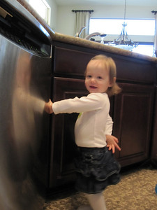Fiona loved trying to open the dishwasher and the kitchen cupboards