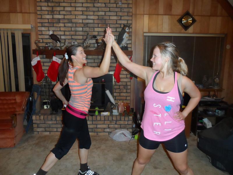 Sarah and Katie Humphries  High Five!