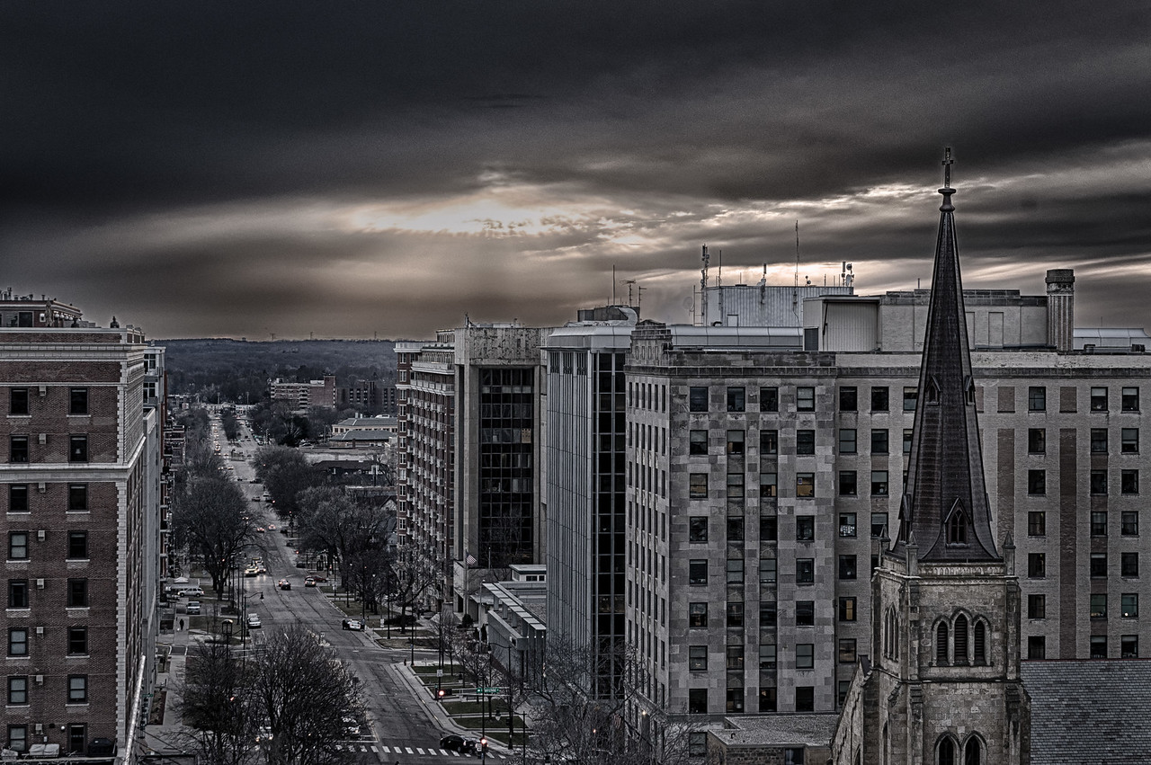 West Washington Avenue from the State Capitol Observation Deck, Madison, Wisconsin