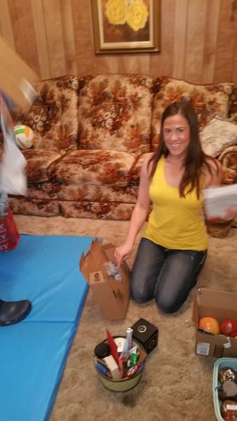 Sarah enjoying Christmas party.