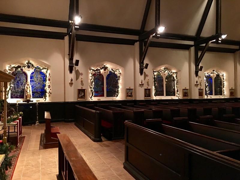 Epistle aisle and Shrine of Our Lady of Joy