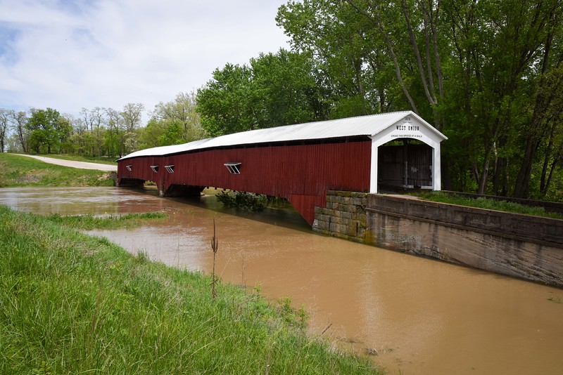 West Union Bridge during high Sugar Creek
