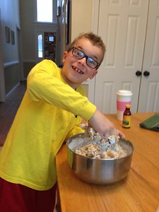 Mixing chocolate chip cookies the Knesper way (with our hands!)