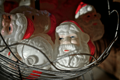 Basket of Santa Christmas Ornaments