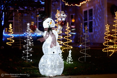 Christmas Light snowman and trees on the lawn of a home on Marci Way  in Chico, Calif. Tues. Dec. 6, 2016. (Bill Husa -- Enterprise-Record)