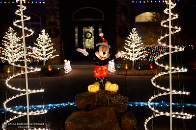 Mickey mouse helps decorate a large front lawn area on this home on Roberts Court in North Chico with Christmas Lights in Chico, Calif. Tues. Dec. 6, 2016. (Bill Husa -- Enterprise-Record)