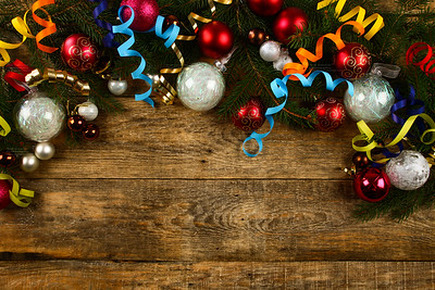 Christmas background with wooden background, pin, christmas balls, flat Design