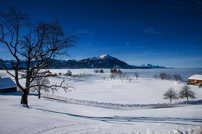 winter landscape zugerberg mit rigi und pilatus