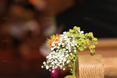 wedding flower in Chruch seats