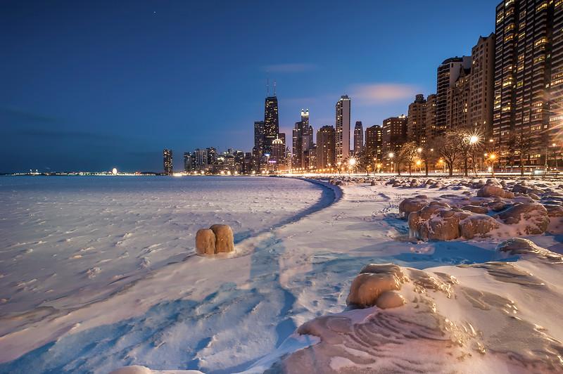 Polar Vortex Hits Chicago Shoreline - 2014 (Color)