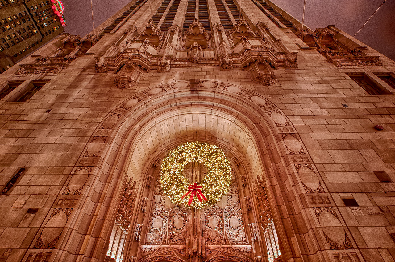 Trib Tower at Christmas