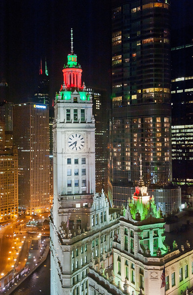 Wrigley Building at Holidays from Colonel McCormick's Office - Take 2 - Closer