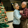 Bernie and Pat Garder, of Leominster, dance along to the music of the band Rhythm during a Christmas luncheon for seniors at the Knights of Columbus in Leominster on Wednesday, December 6, 2017. SENTINEL & ENTERPRISE / Ashley Green