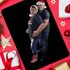 Tablet and tablet in Christmas red background with tree, gift and decoration